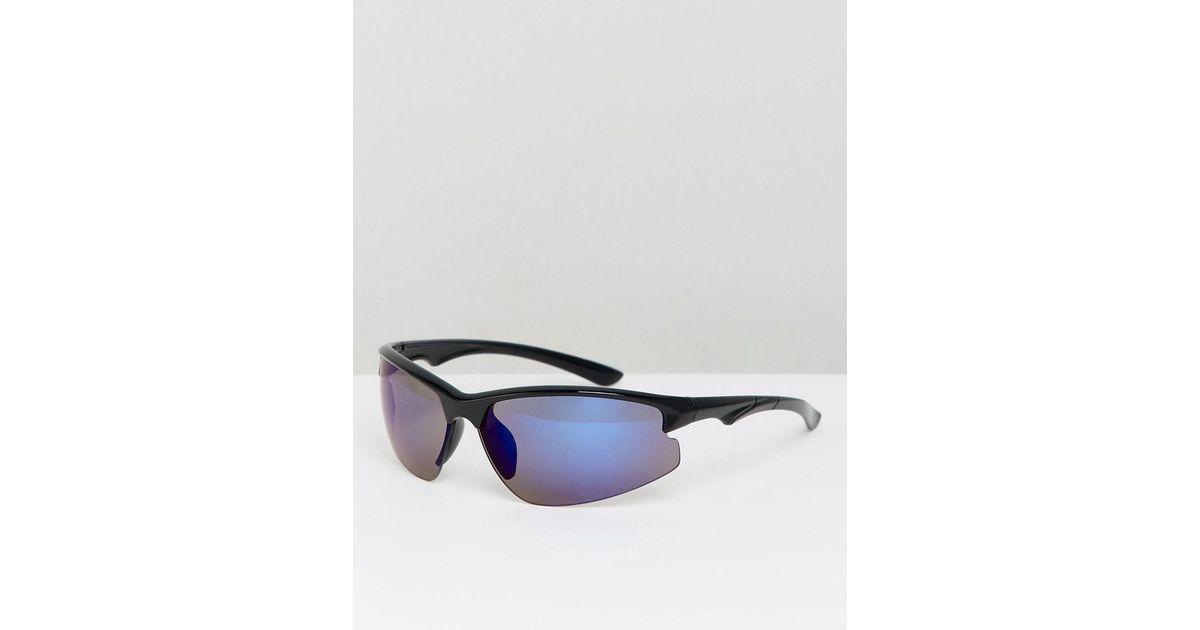 3ae29015931 Lyst - ASOS Visor Sunglasses In Black With Blue Mirror Lens in Black for Men