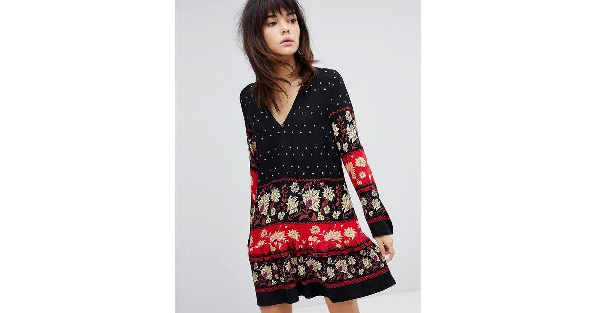 Minkpink Drop Waist Dress Smock Dress With Border Print - Multi Minkpink uYnfkqPx