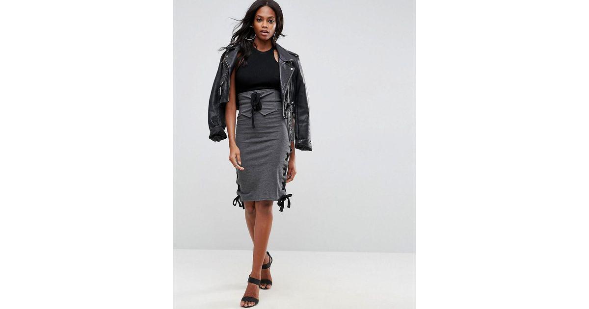 7bbda5a937 Lyst - ASOS High Waist Midi Skirt With Corset Detail in Gray