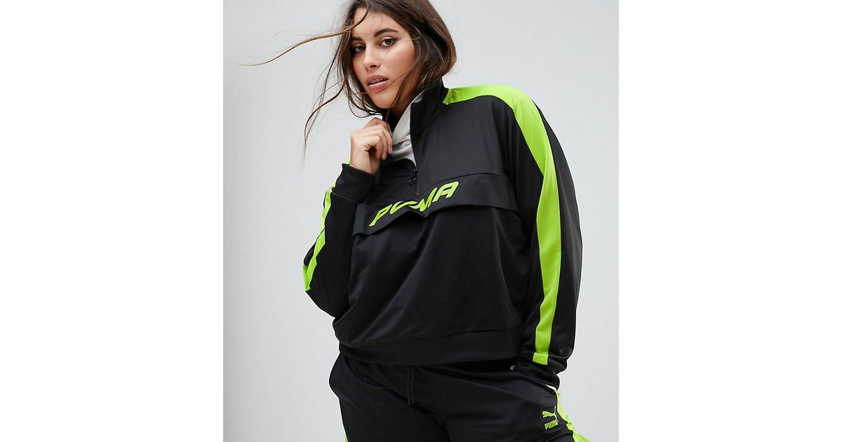 608d4d0eaf61 Lyst - PUMA Exclusive To Asos Plus Track Jacket In Black And Neon Green in  Black