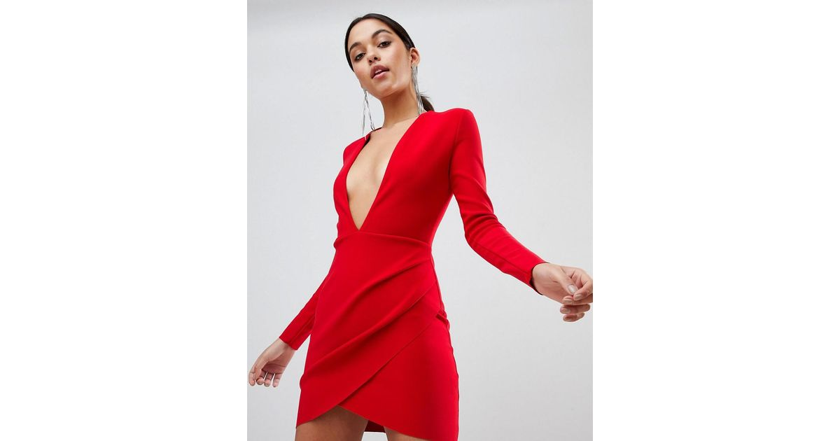 3a8cc7929bf8 Bec & Bridge Long Sleeve Bodycon Mini Dress in Red - Lyst