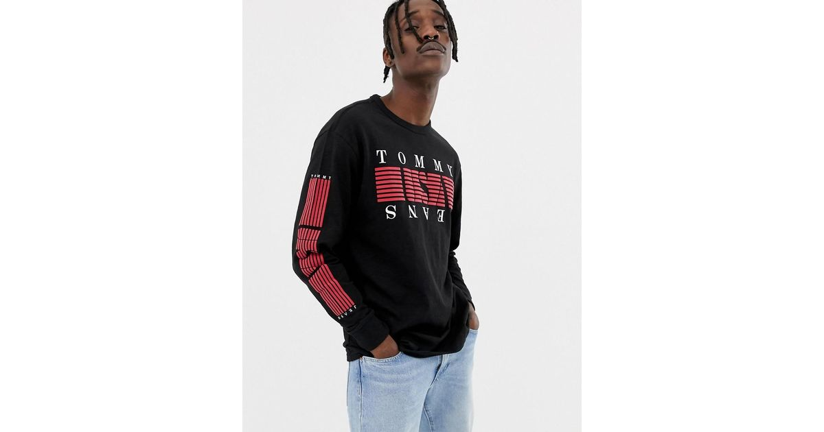 cee1fefc092 Lyst - Tommy Hilfiger Stripe Usa Logo Chest   Sleeve Print Long Sleeve Top  In Black in Black for Men