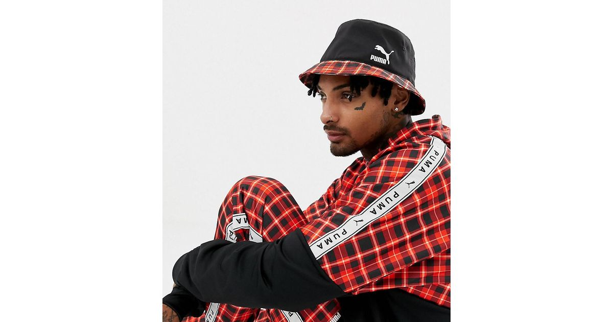 39376c06f34 PUMA Check Bucket Hat In Red Exclusive At Asos in Red for Men - Lyst