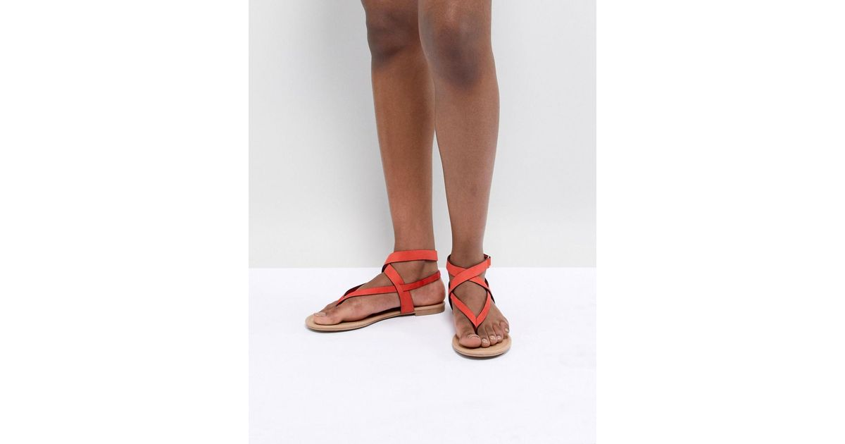Call It Spring Red Tie Up Flat Sandals - Red Call It Spring 5bwjaJQE