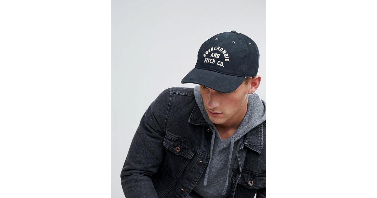732f788b4b0b3 Abercrombie   Fitch Logo Twill Baseball Cap In Black in Black for Men - Lyst