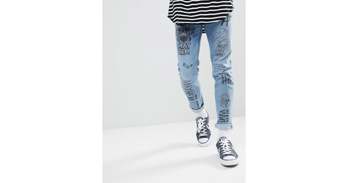0a0ce6f9 ASOS Skinny Jeans In Mid Wash Blue With All Over Grunge Prints in Blue for  Men - Lyst