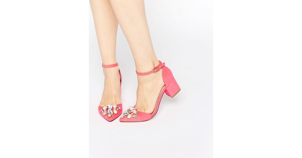 b9e2b43a0a6 ASOS Sparkle Pointed Heels - Bright Pink in Pink - Lyst