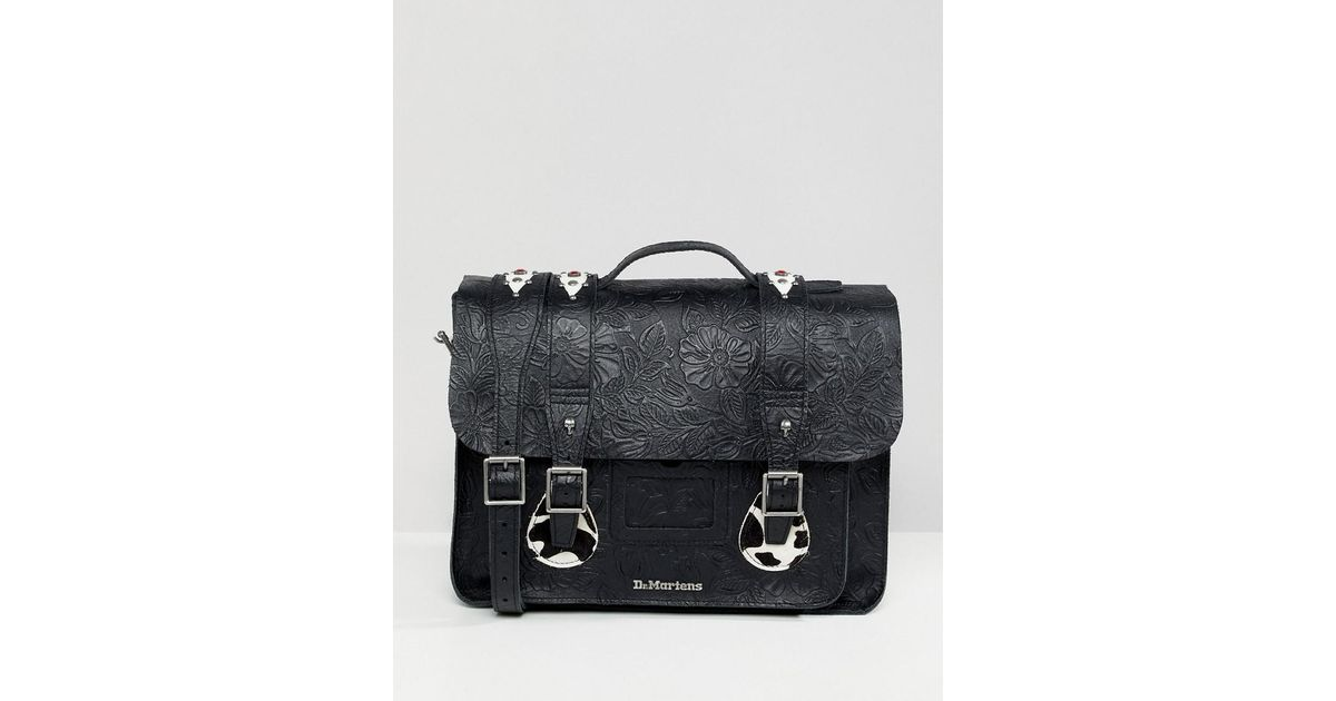 cf135e2381 Dr. Martens Embossed Leather Satchel 15 Inch in Black for Men - Lyst