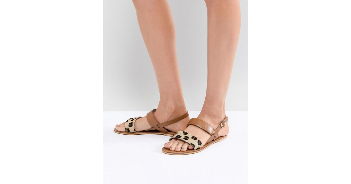 6663f5201d49ac Lyst - Warehouse Leopard Print Contrast Strap Sandals in Brown