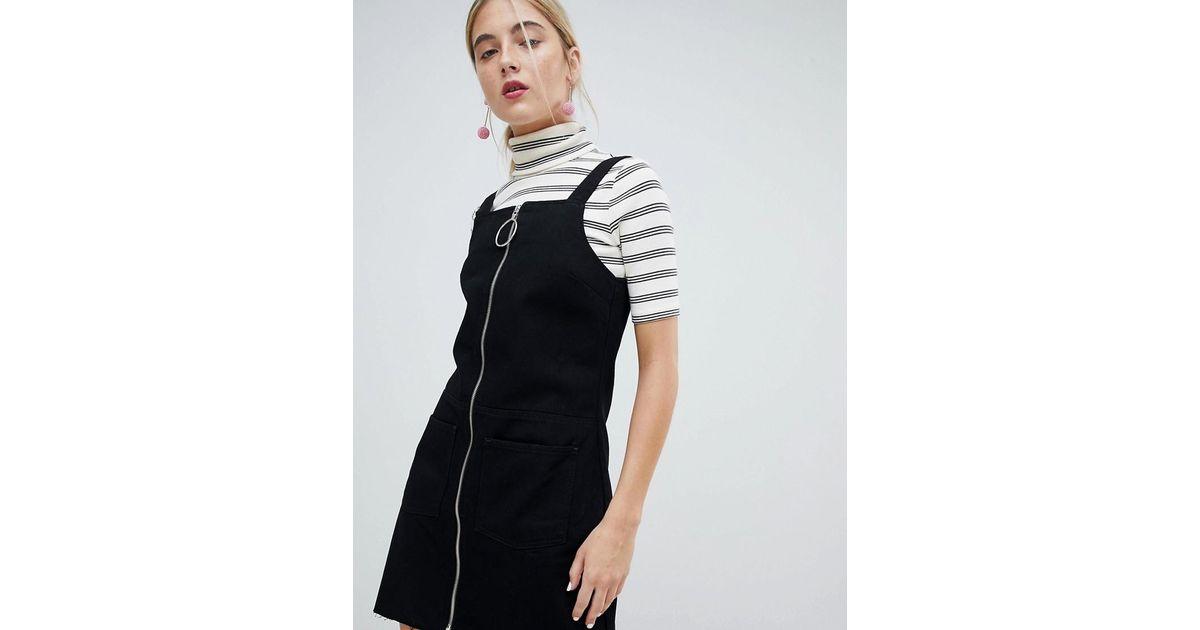 e1d38c9e55 Lyst - Chorus Circle Puller Zip Up Denim Jumper Dress in Black