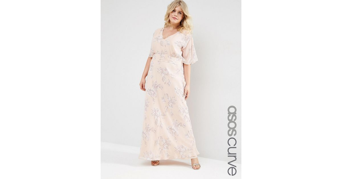 Asos wedding maxi dress in soft rose print in natural for Print maxi dress for wedding