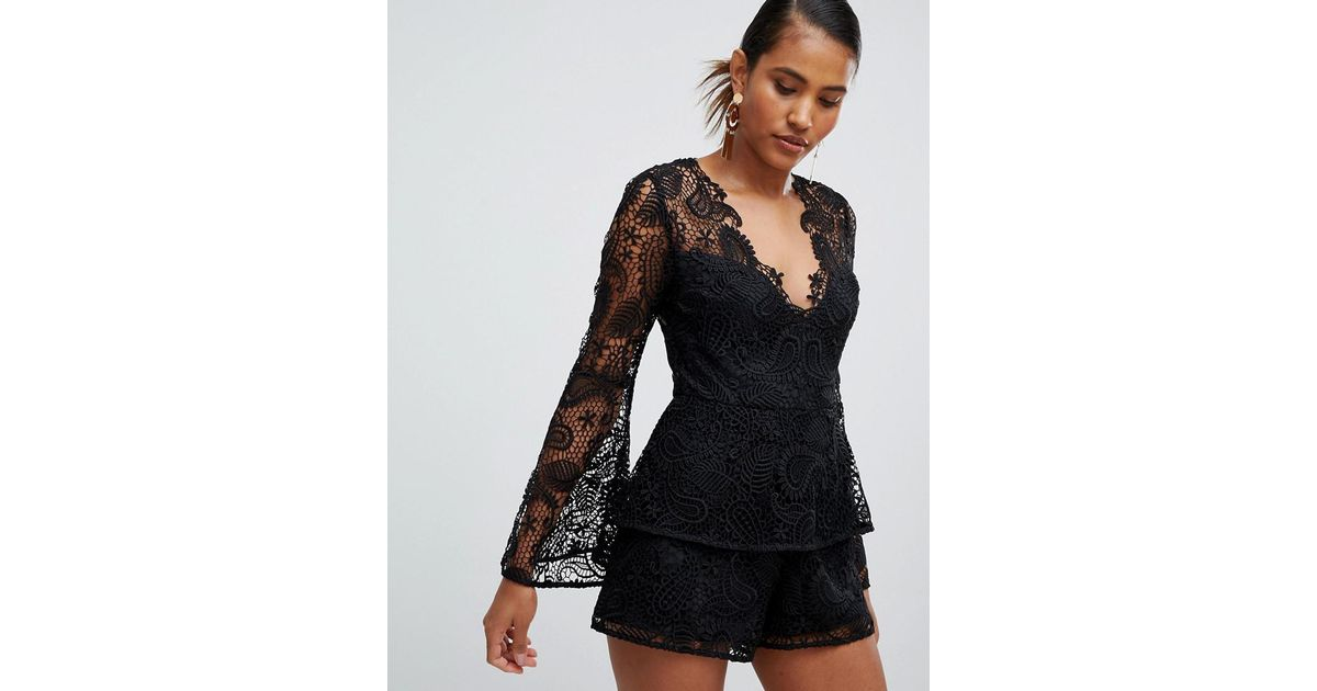 a03817ac9c Lyst - ASOS Lace Playsuit With Ruffle Tiers And Fluted Sleeve in Black
