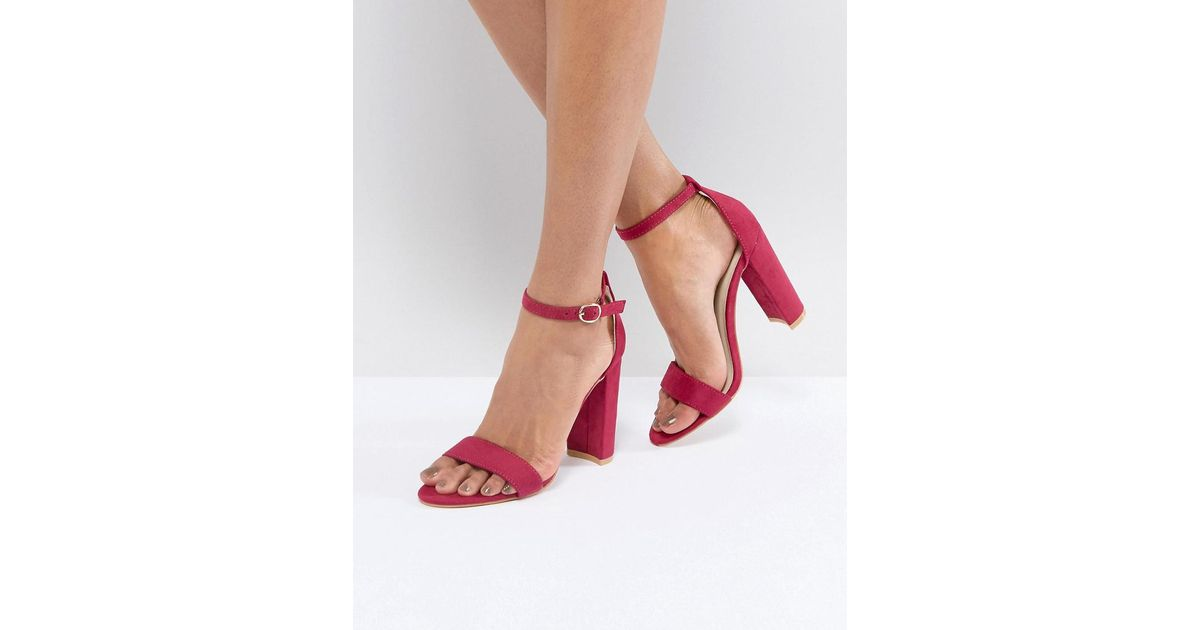 1bf2b7de22d Glamorous Fuschia Barely There Block Heeled Sandals in Pink - Lyst