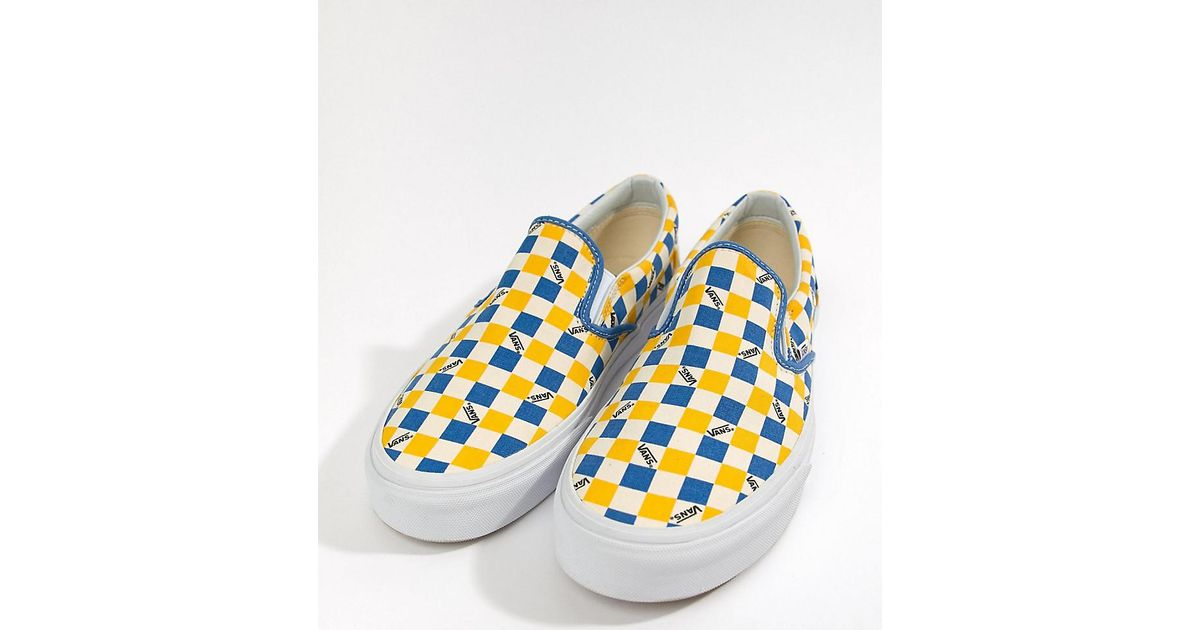 597a07a31d8e Vans Factory Pack Checkerboard Slip-on Plimsolls In Yellow Exclusive At  Asos in Yellow for Men - Lyst