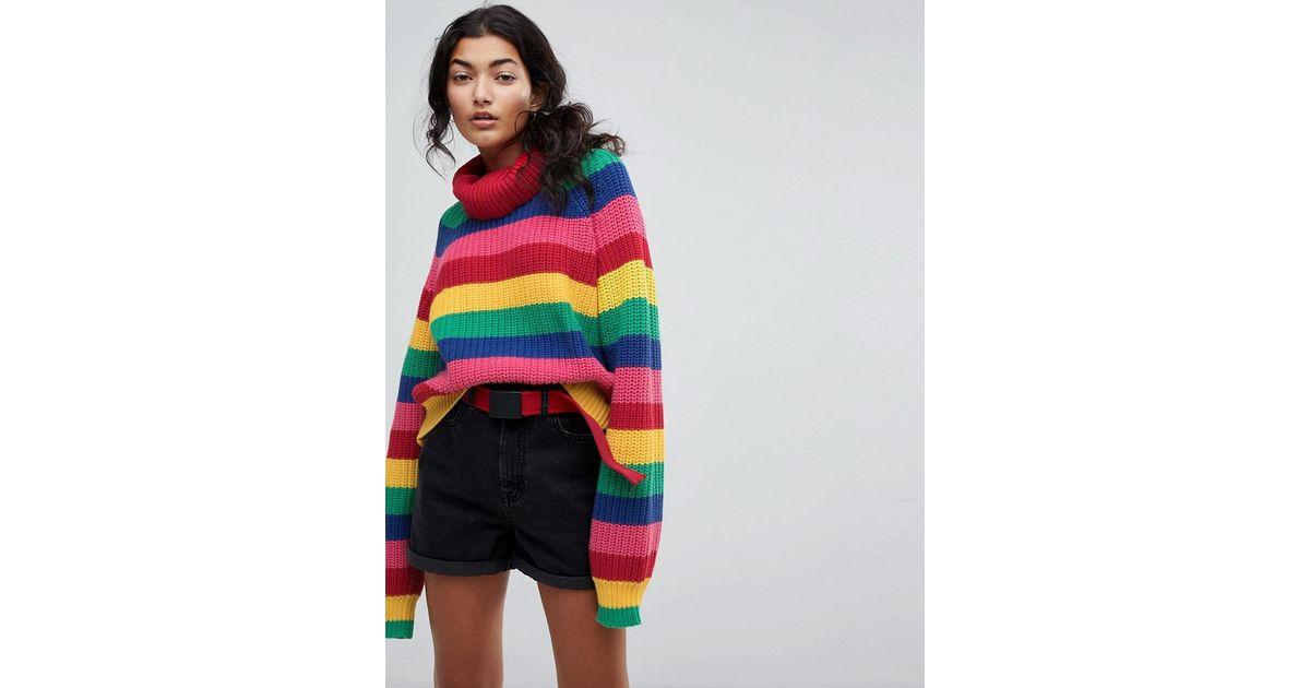 Lazy Oaf Roll Neck Knitted Jumper In Rainbow Stripe Lyst