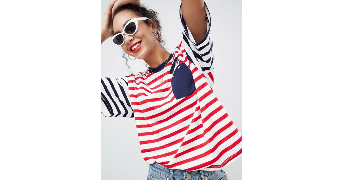 09d25542ca3 Lyst - ASOS Hello Kitty X Oversized T-shirt With Peeping Embroidered Motif  in Red