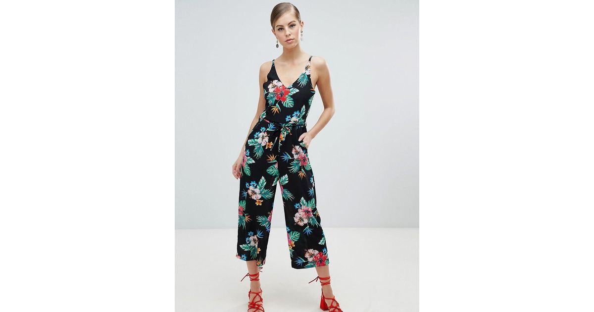 91796cbe5681 AX Paris Tropical Print Culotte Jumpsuit in Black - Lyst