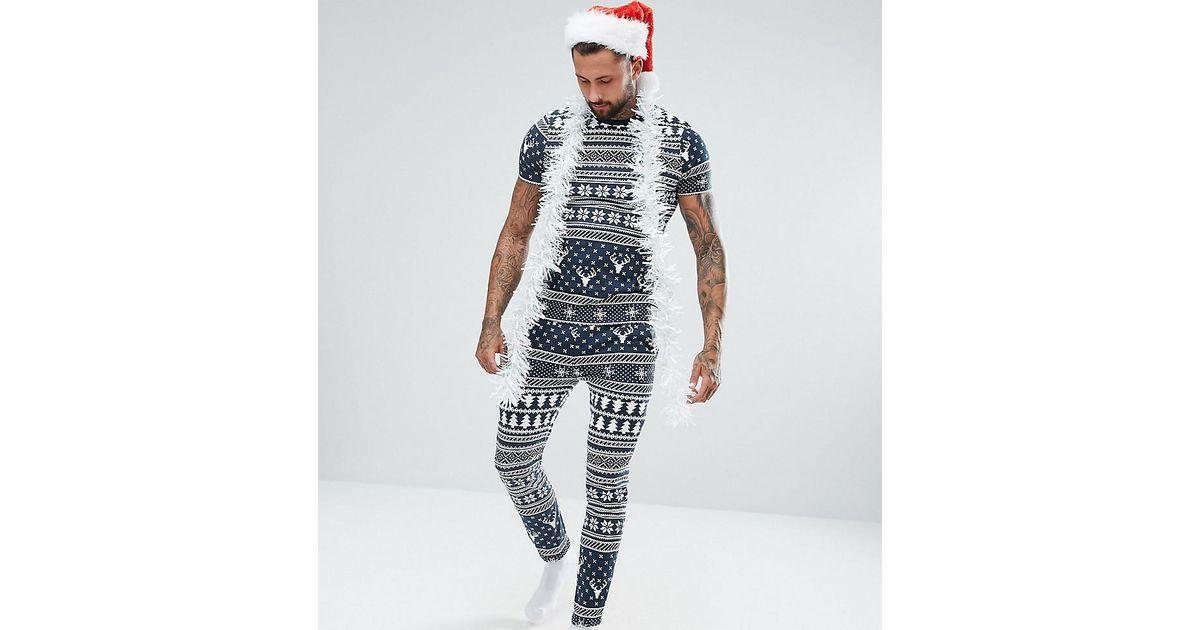 Lyst - Asos Pyjama Set In Christmas Fair Isle Print in Blue for Men