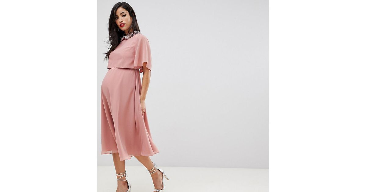 dd8ef3258d2fe ASOS Asos Design Maternity Midi Dress With Crop Top And 3d Embellished  Collar in Pink - Lyst