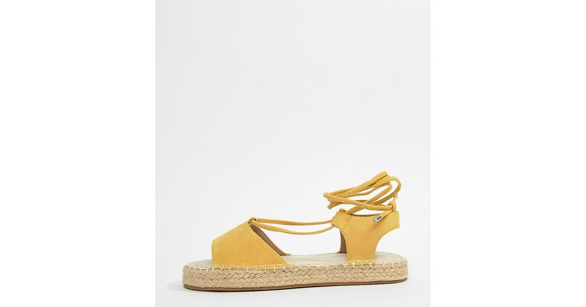 e79f2169b38 ASOS Jump On Tie Leg Espadrille Sandals in Yellow - Lyst