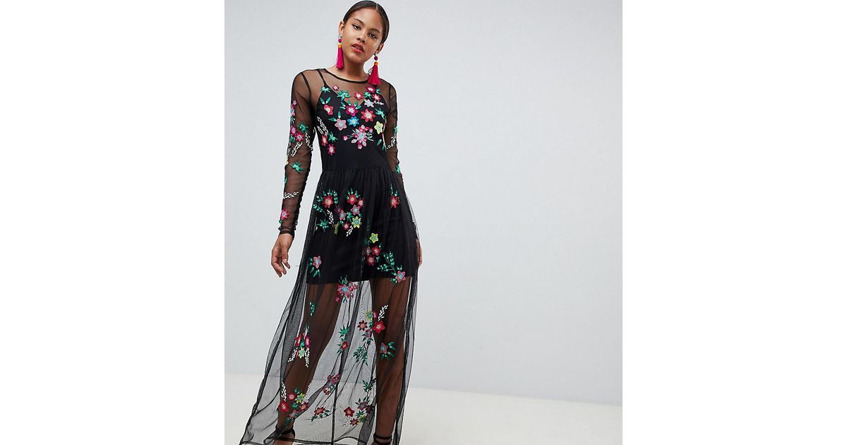 3130a5954c ASOS Premium Mesh Maxi Dress With Floral Embroidery in Black - Lyst