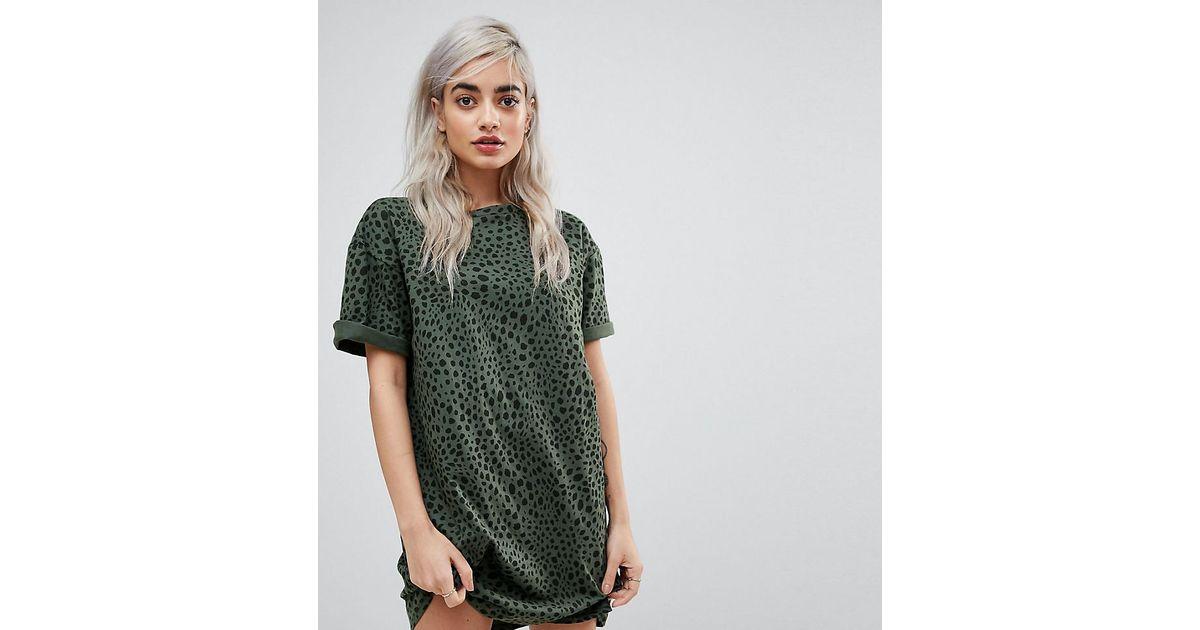 16847e2c65d0 Lyst - ASOS Asos Design Petite Ultimate T-shirt Dress In Leopard Print in  Green
