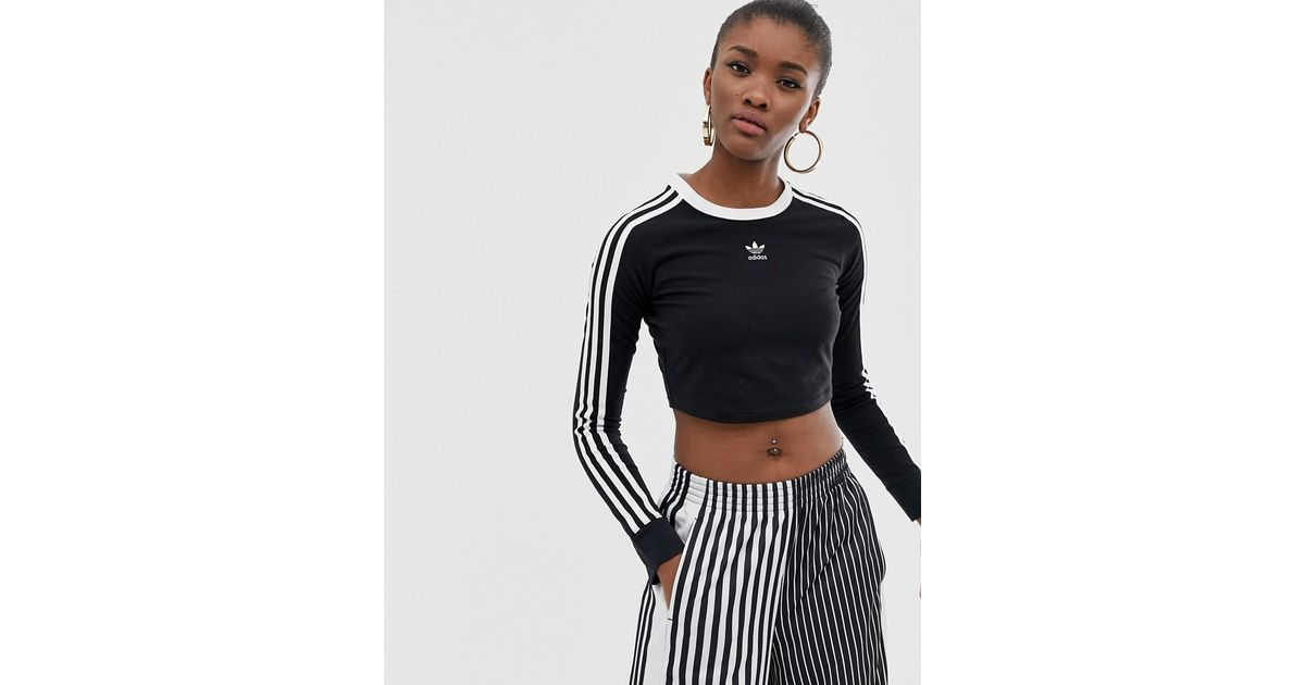 48e6c04fa adidas Originals Three Stripe Cropped Long Sleeve Top In Black in Black -  Lyst
