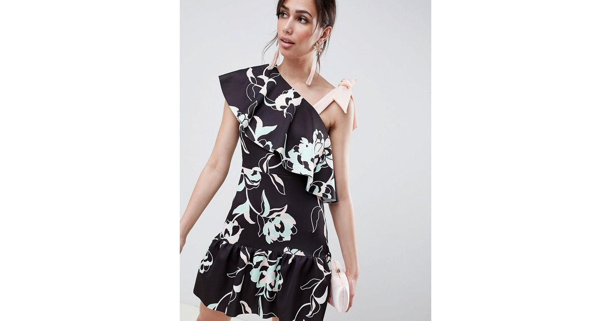 7b874eaf6ea ASOS Floral One Shoulder Ruffle Mini Dress With Bow Detail - Lyst