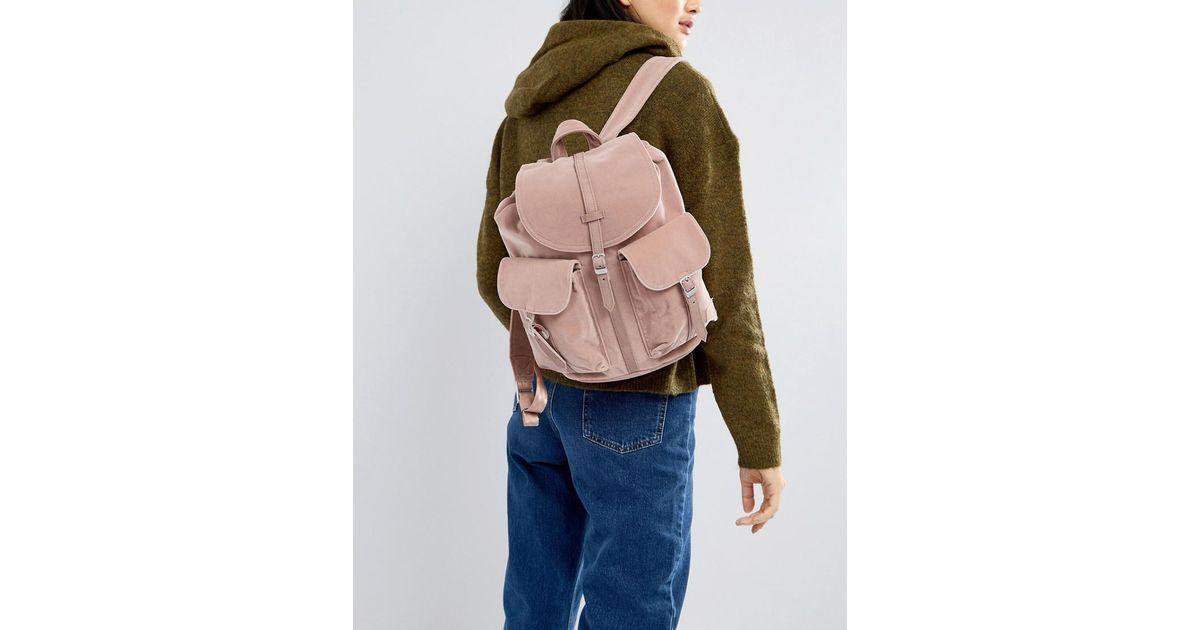 d6a9f05f445 Lyst - Herschel Supply Co. Herschel Dawson Pink Velvet Backpack in Pink