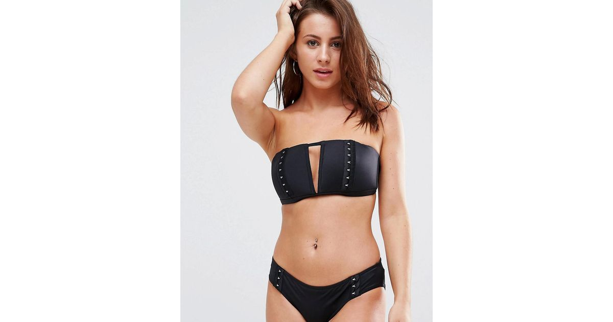 FULLER BUST Mix and Match Bandeau with V Front Bikini Top with Hook and Eye DD-G - Black Asos New Fashion Style Of Affordable For Sale Outlet Best FRPX3t8X
