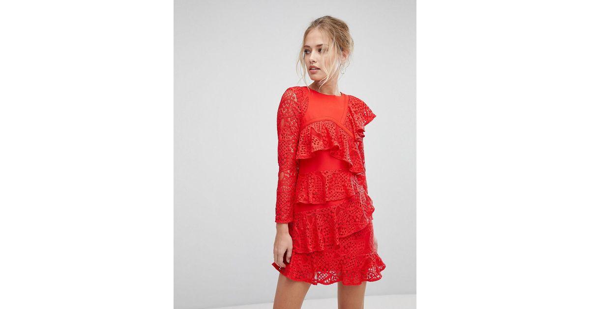 encaje rojo volantes con en de Mae vestido EIpY7qf