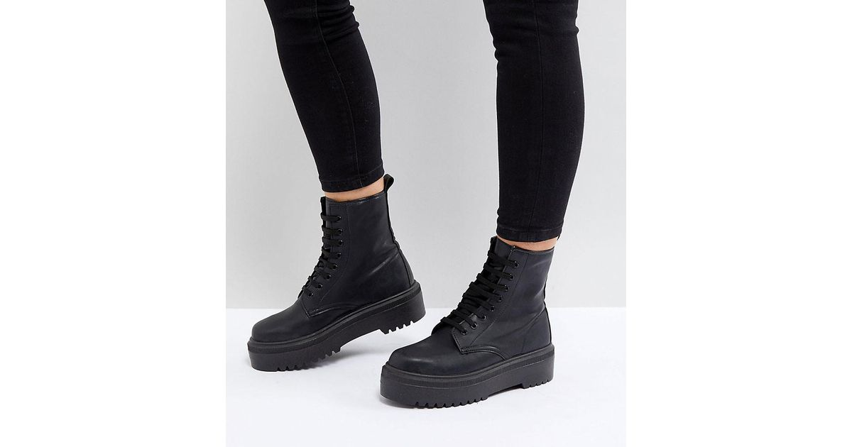 524fd4b5a0e Lyst - ASOS Attitude Wide Fit Chunky Lace Up Boots in Black