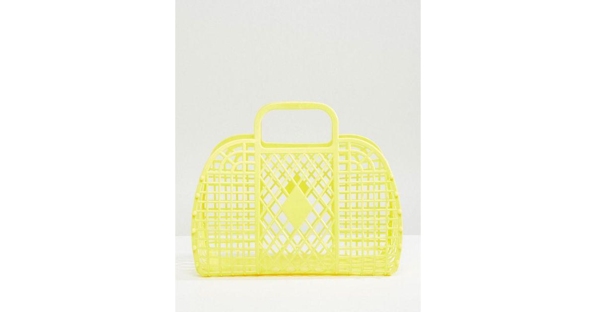 plastic basket bag in yellow - Yellow Monki u5Knm