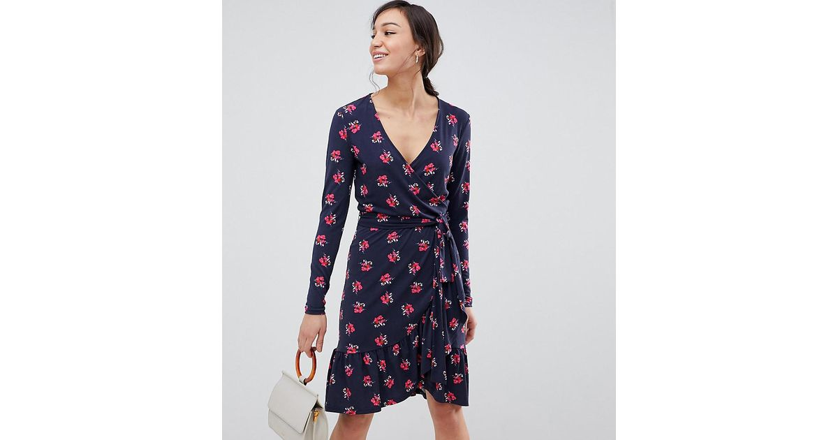 04e450db7d Lyst - Y.A.S Yas Tall Ruffle Wrap Dress In Pink Floral Print in Blue