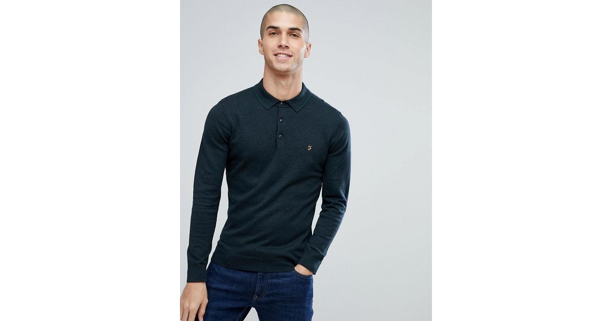 3c340f46 Farah Farson Slim Fit Long Sleeve Knitted Polo In Black Marl in Black for  Men - Lyst