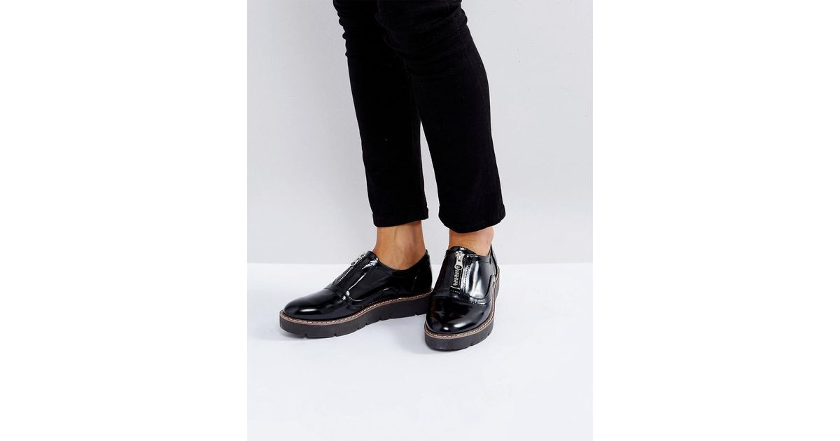 London Rebel Zip Front Flatform Shoe hu9fElnlG