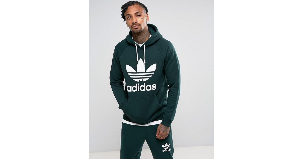 cabd2e155f8f1 adidas Originals Trefoil Hoodie In Green Br4183 in Green for Men - Lyst