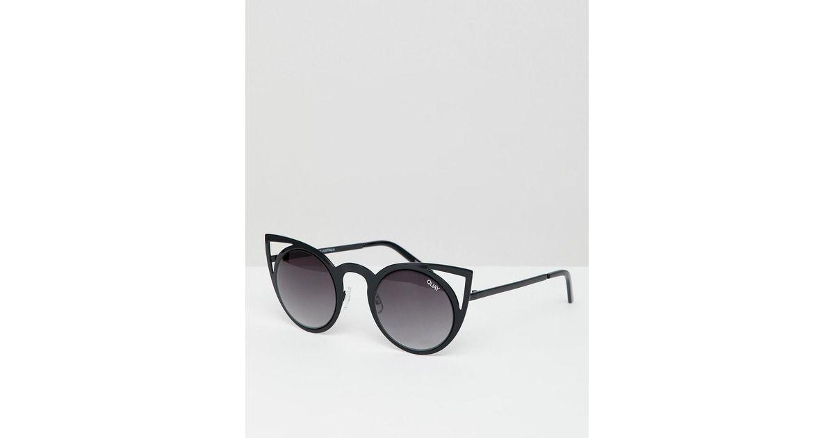 5b7a45e7fc4 Lyst - Quay Invader Cat Eye Sunglasses in Black
