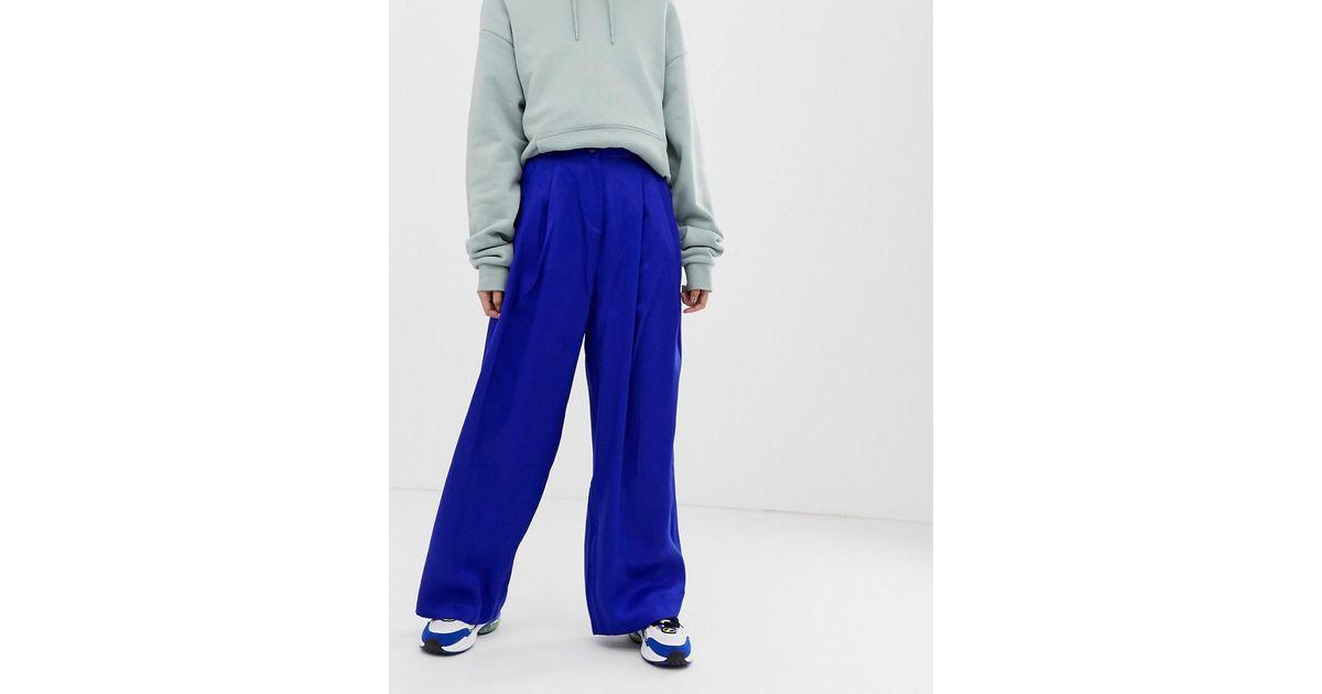 b43cb95a6f49 Lyst - Weekday Wide Leg Pants In Bright Blue in Blue