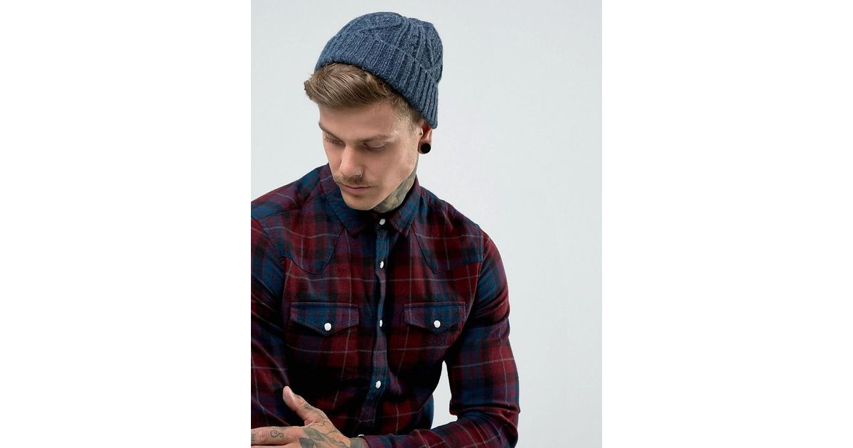 Fisherman Beanie In Blue Cable Knit - Blue Asos vgYEaE