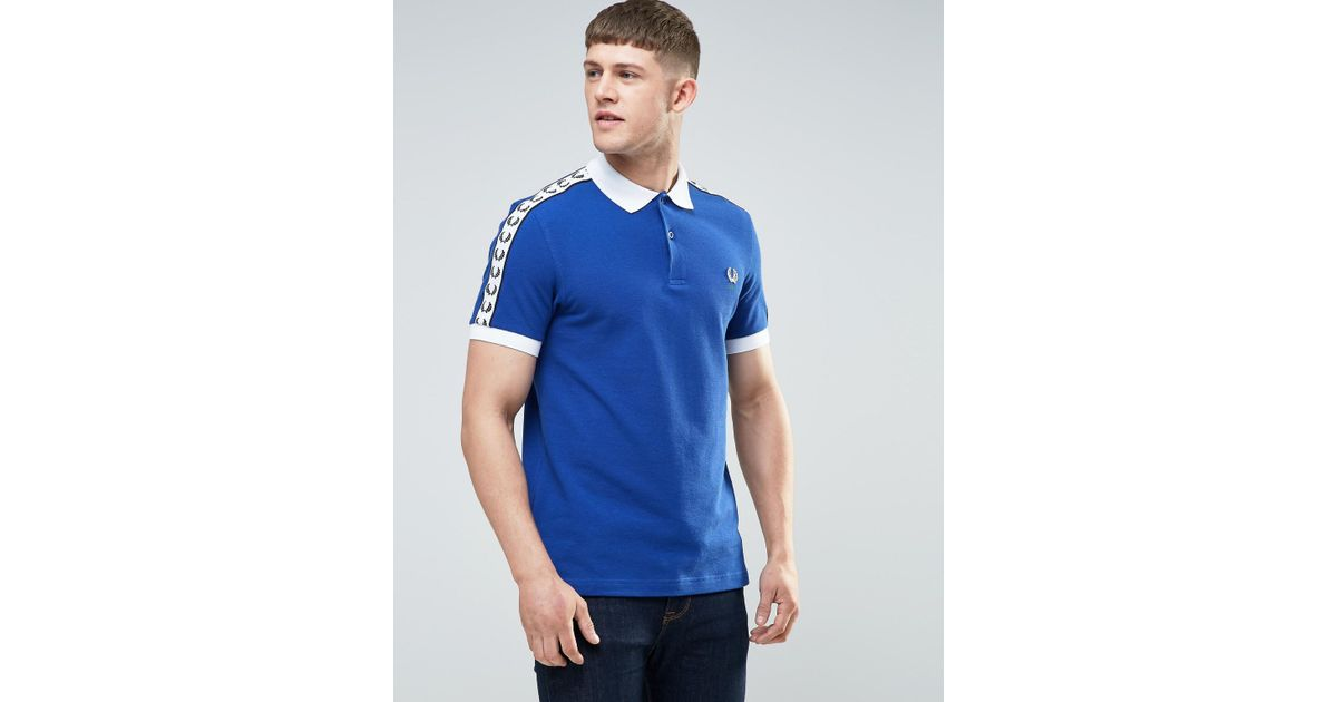 Fred perry italy polo shirt in blue cobalt in blue for for Cobalt blue polo shirt