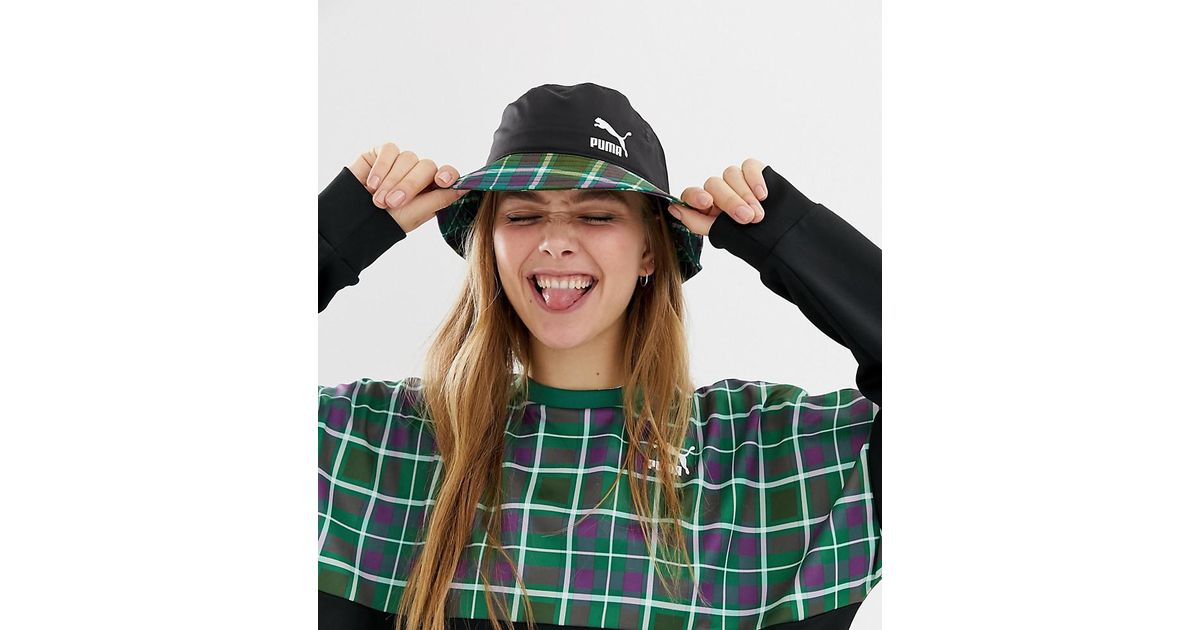 5c39904d PUMA Exclusive Green Check Bucket Hat in Green - Lyst