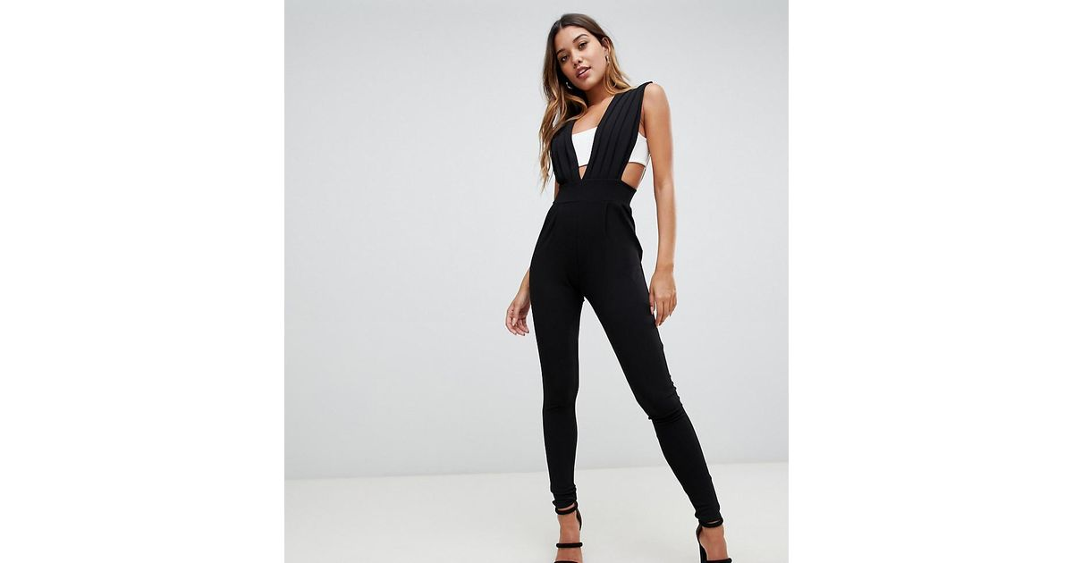 32310698b8e Lyst - PrettyLittleThing Cut Out Jumpsuit In Monochrome in Black