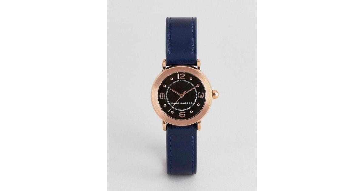 Lyst - Reloj de cuero en azul marino para mujer MJ1577 de Marc Jacobs de  hombre de color Azul 56808510aac5