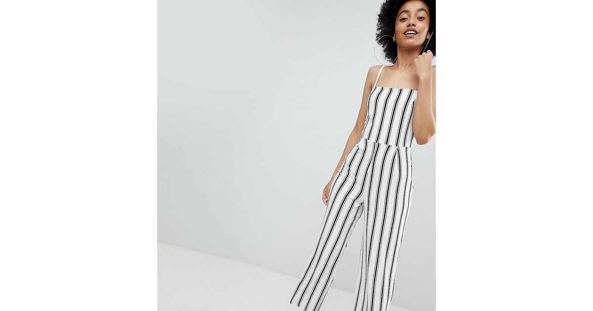 latest fashion the cheapest buying now Combinaison large rayures Bershka en coloris White