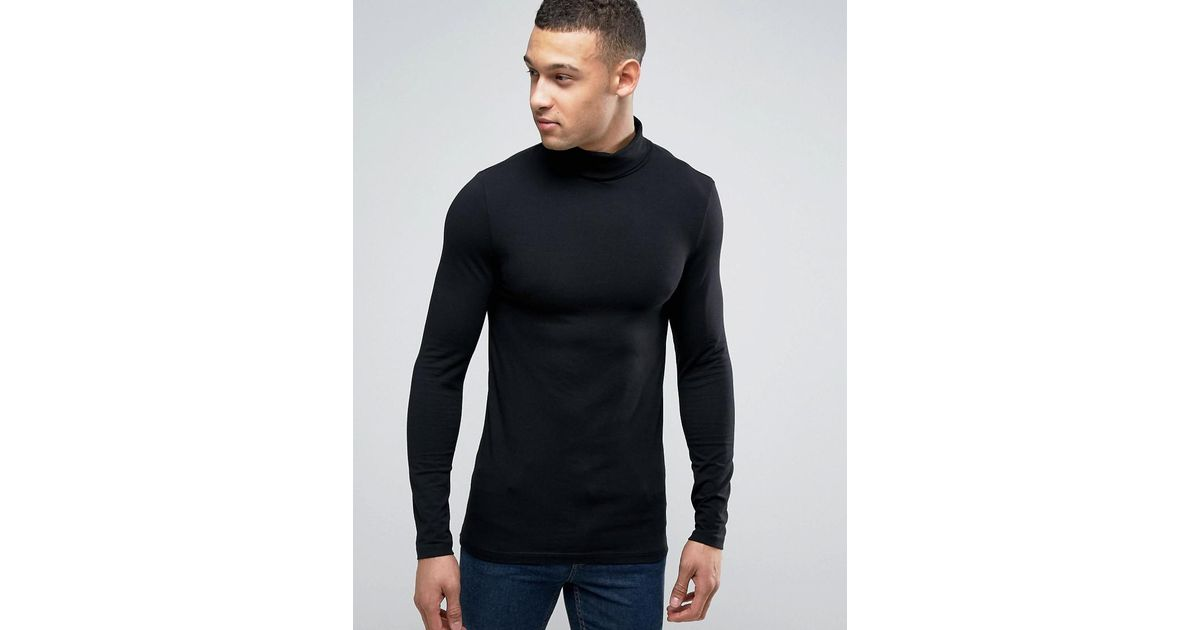 87d00a10 Lyst - ASOS Extreme Fitted Fit Long Sleeve T-shirt With Roll Neck in Black  for Men