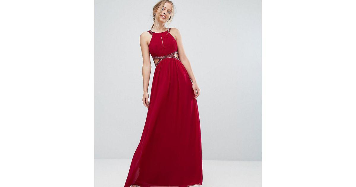 Lyst - Robe longue en mousseline avec découpes et ornements Little Mistress  en coloris Rouge 94f5e0b1a178