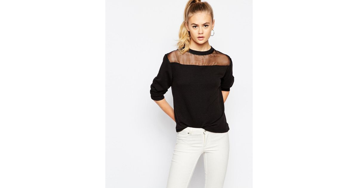 afbcd0056ee Daisy Street Sheer Mesh Insert Sweatshirt in Black - Lyst