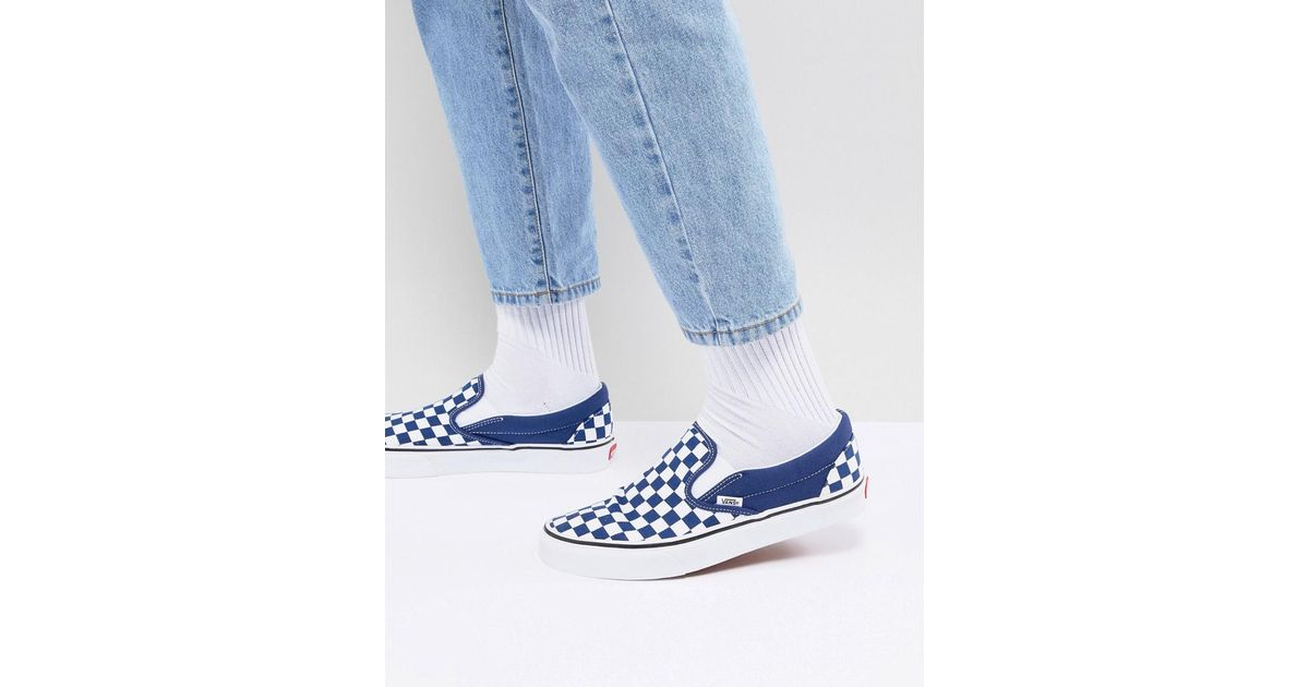 e7e141d72f1e Vans Classic Checkerboard Slip-ons In Blue Va38f7qcn in Blue for Men - Lyst