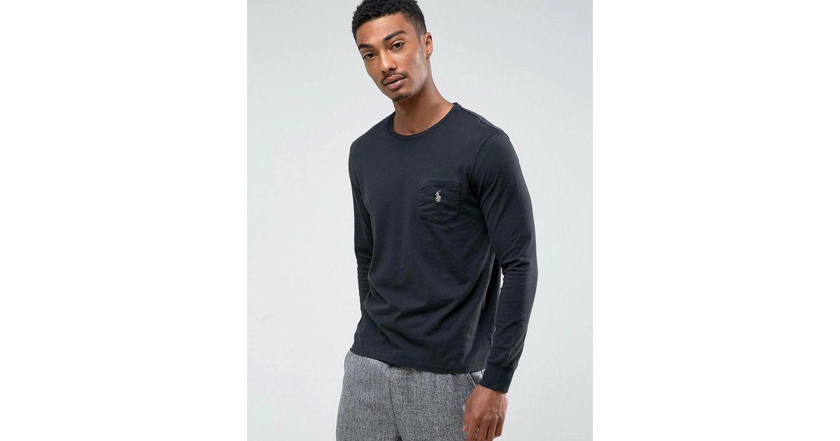 e18a621a0261 Polo Ralph Lauren Long Sleeve Top Pocket Custom Regular Fit In Black in  Black for Men - Lyst